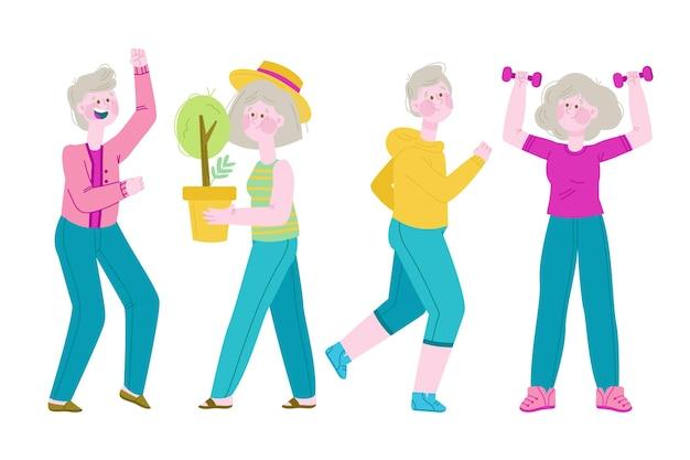 Пожилые люди сажают и занимаются спортом