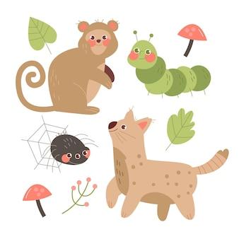 手描きデザイン秋の森の動物