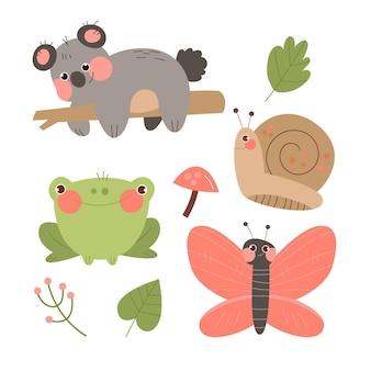 手描きスタイルの秋の森の動物