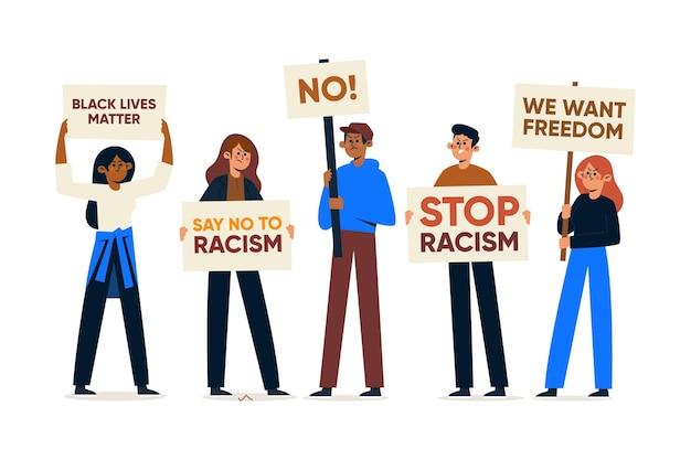 人種差別に対する抗議に参加している人々