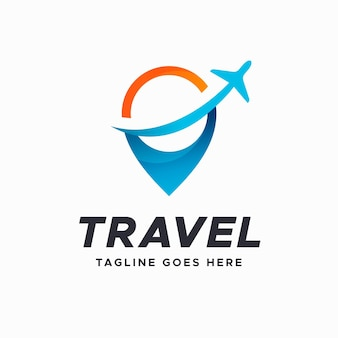 詳細な旅行のロゴのテンプレート