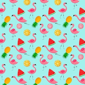 果物とフラミンゴパターン