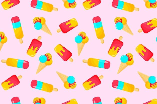 Летний узор с фруктовым мороженым