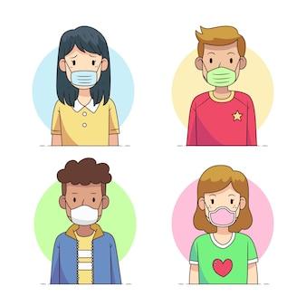 Люди, носящие разные типы маски для лица