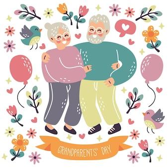 幸せな祖父母の日老夫婦