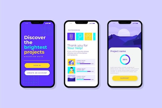 クラウドファンディングアプリのインターフェースのコンセプト