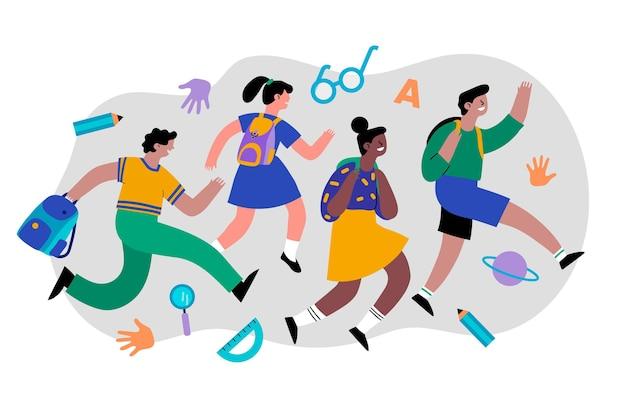 Плоский дизайн детей обратно в школу концепции