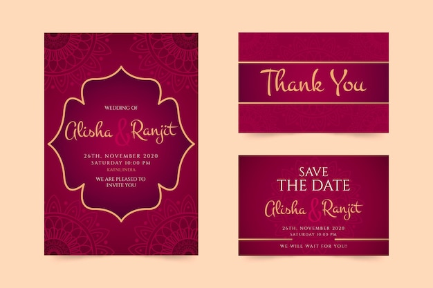 インドの結婚式の文房具のコンセプト