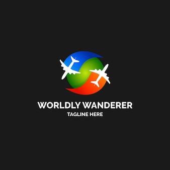 詳細な旅行会社のロゴのテンプレート