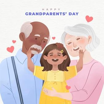 水彩アメリカ国立祖父母の日のコンセプト