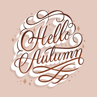 こんにちは秋のメッセージレタリング