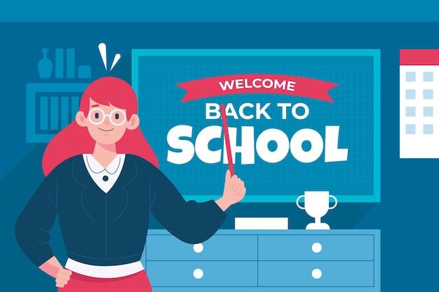 Учитель приветствует снова в школу