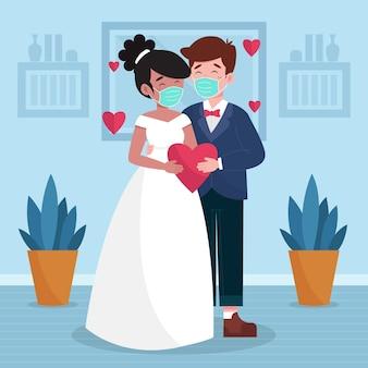 Свадебная пара в масках