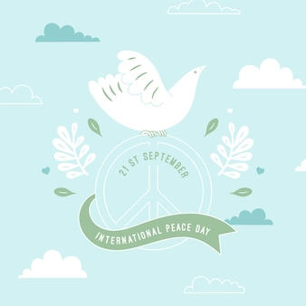 День мира белый голубь и лента