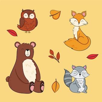 手描きの秋の動物のコレクション