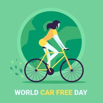 Плоский дизайн мира без автомобиля день концепция
