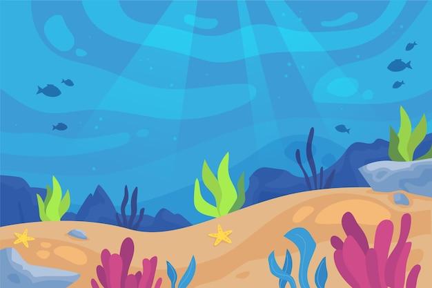 カラフルな海藻と水中の背景