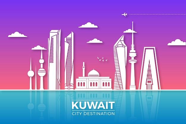 紙のスタイルでクウェートのスカイライン