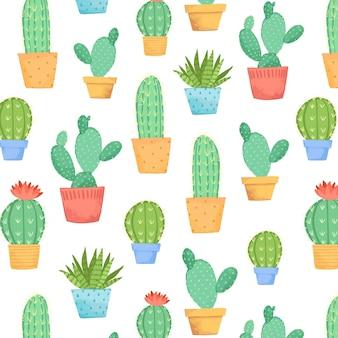 Коллекция рисунков кактусов в горшочке