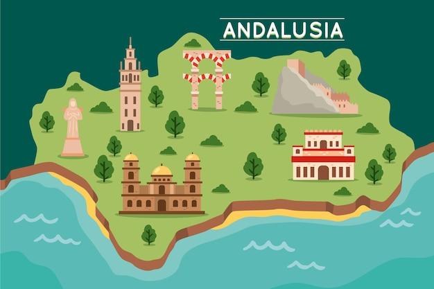 ランドマークとアンダルシアの地図