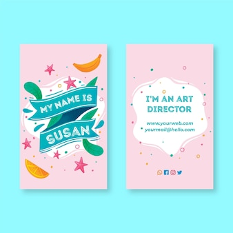 Двухсторонняя визитка вертикальная