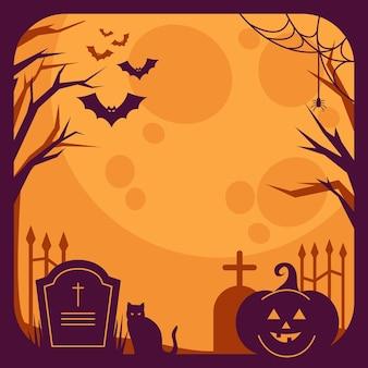 Кладбище и черная кошка на хэллоуин