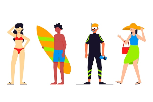 Люди позируют в разных костюмах для пляжа