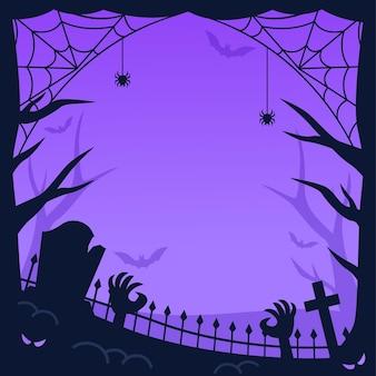 クモの巣とゾンビのハロウィンフレーム