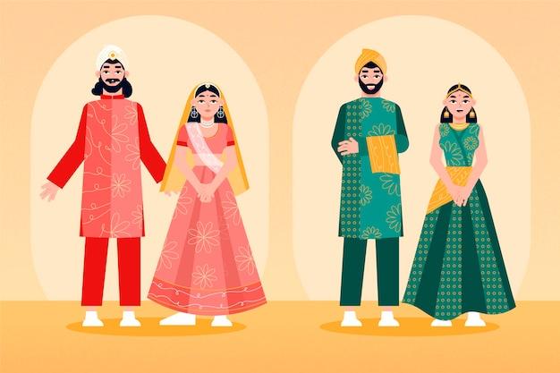 インドの結婚式のキャラクターコレクション