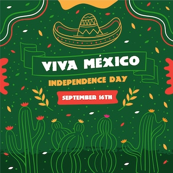 手描きメキシコ独立記念日のコンセプト