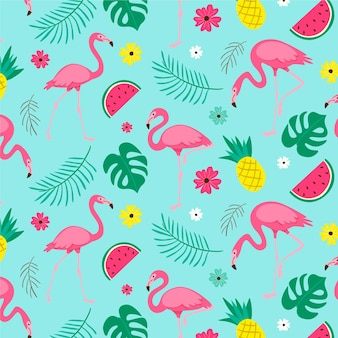 熱帯の葉が描かれたピンクのフラミンゴ鳥パターン