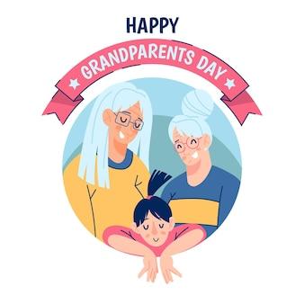 フラットなデザイン米国国民の祖父母の日のコンセプト