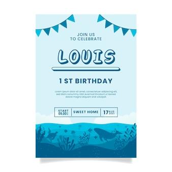 青い海の誕生日の招待状