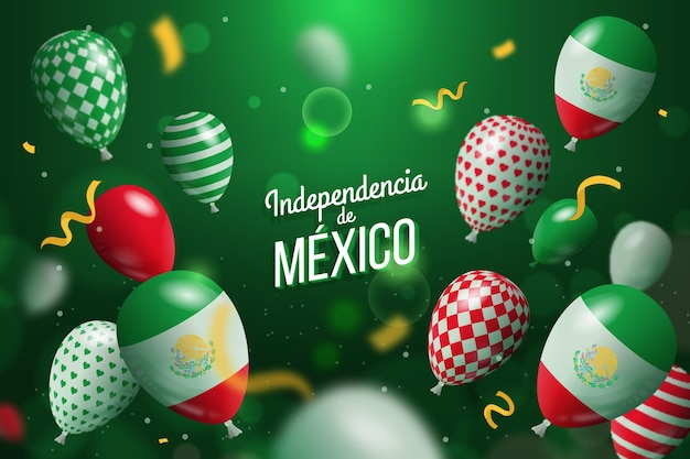 Реалистичный фон с воздушными шарами независимости мексики
