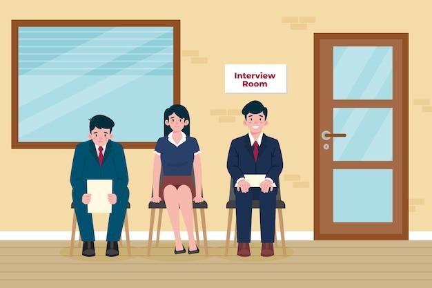 就職の面接を待っている人