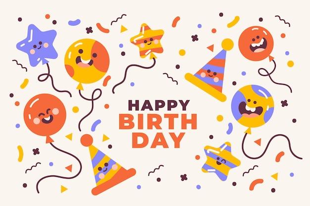 Плоский дизайн день рождения фон