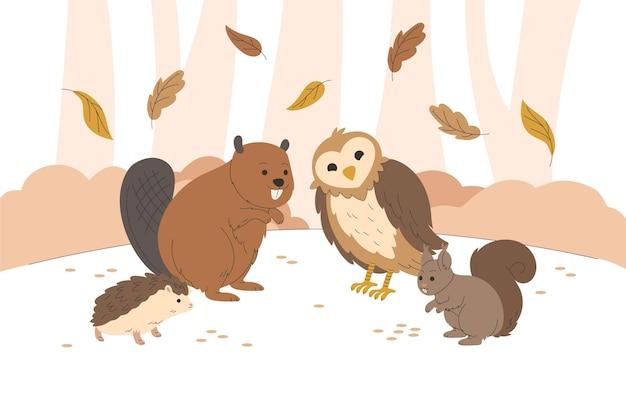 秋の森の動物を描く