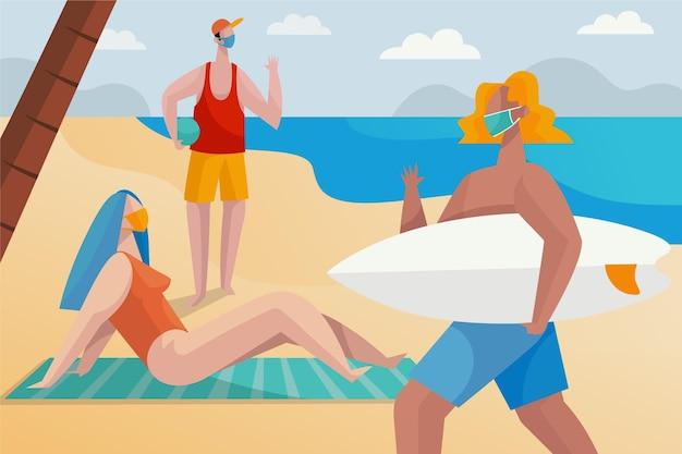マスクを持つビーチの人々
