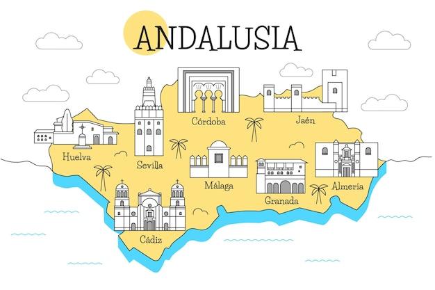 ランドマークとカラフルなアーメダバード地図