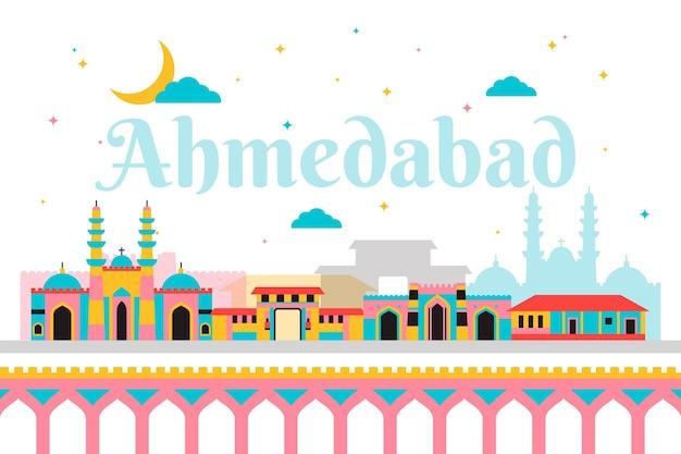 Красочный горизонт ахмадабада с достопримечательностями