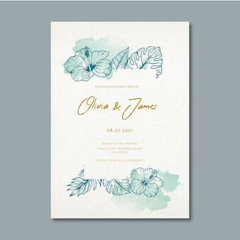 花の装飾品で結婚式の招待状