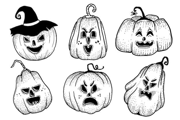 手描きのハロウィンのカボチャコレクションデザイン