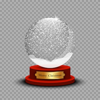 現実的なクリスマス雪玉。透明な背景の影とガラスの雪玉