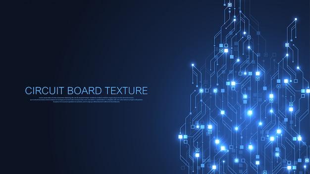 技術の抽象的な回路基板の背景。ハイテク未来的な回路基板。デジタルデータ。電子マザーボードのエンジニアリング。最小配列のビッグデータ