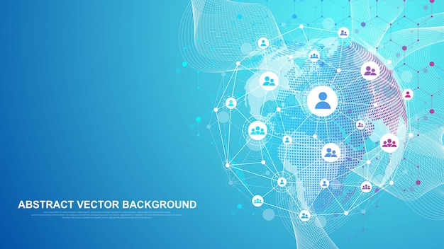 グローバルネットワーク接続の概念。ビッグデータの視覚化。グローバルコンピュータネットワークにおけるソーシャルネットワークコミュニケーション。インターネット技術。ビジネス。理科。