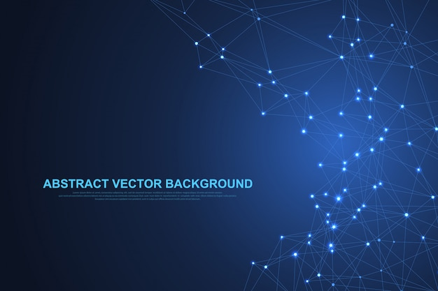 接続された直線と点と抽象的な神経叢の背景。神経叢の幾何学的効果化合物によるビッグデータ。神経叢、最小配列。デジタルデータの視覚化。図。