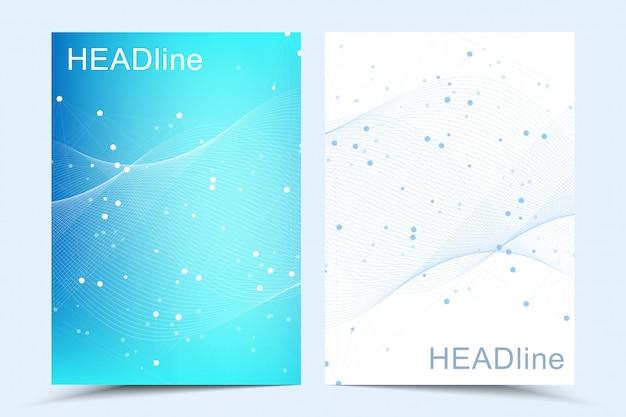Современные шаблоны для брошюры, обложки, флаера, годового отчета, листовки. абстрактная художественная композиция с соединительными линиями и точками. волновое течение. цифровая технология, наука или медицинская концепция