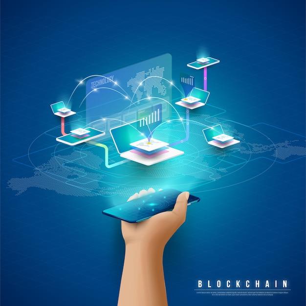 Концепция обработки больших данных, энергетическая станция будущего, дата-центр, криптовалюта и блокчейн