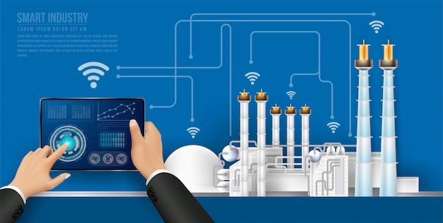 Люди соединяются с фабрикой с помощью смартфона и обмениваются данными с нейронной сетью.