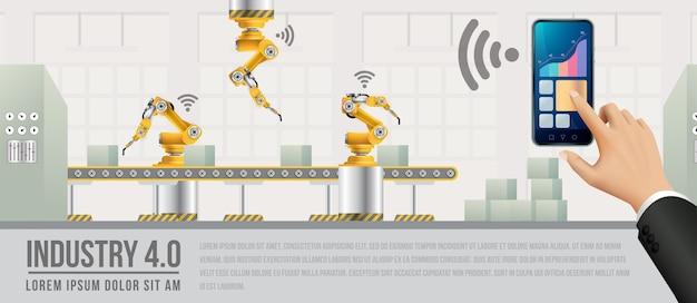 スマートフォンを使って工場とつながり、ニューラルネットワークとデータを交換する人々。
